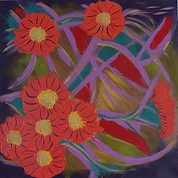 Abstract Flowers painting by Kate Farrant