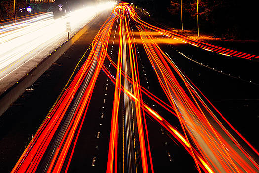 Abstract Freeway lights by Garry Gay