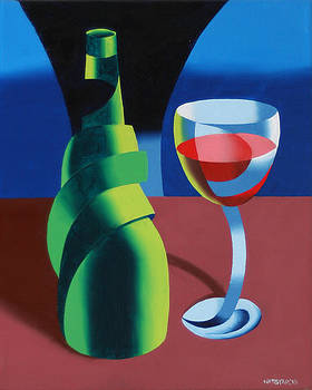 Abstract Geometric Wine Glass and Bottle by Mark Webster