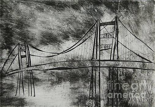 Abstract Golden Gate Bridge Black and White Dry Point Print Cropped by Marina McLain