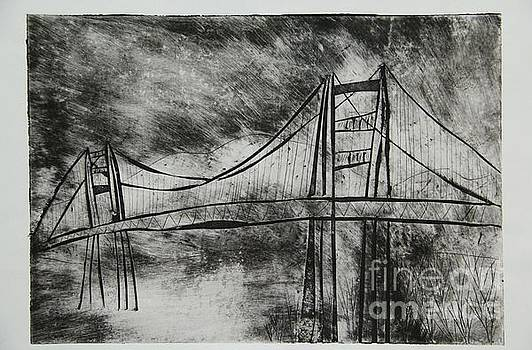 Abstract Golden Gate Bridge Black and White Dry Point Print by Marina McLain