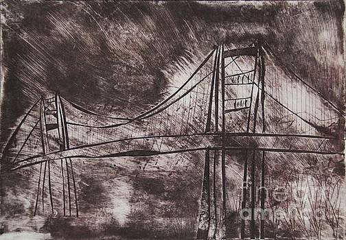 Abstract Golden Gate Bridge Dry Point Print Cropped by Marina McLain