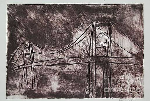 Abstract Golden Gate Bridge Dry Point Print by Marina McLain