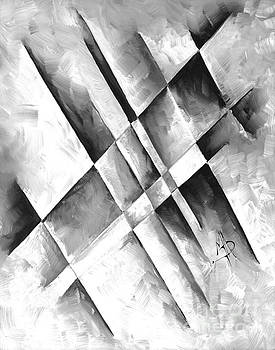 Abstract Gray Minimalist Contemporary PoP Art Painting Gray Scale I by MADART by Megan Duncanson