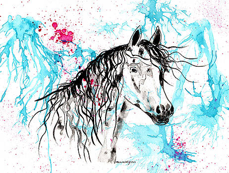 Michelle Wrighton - Abstract Ink - Black Arab Horse