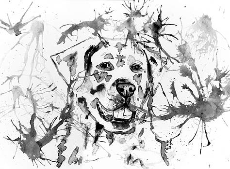 Michelle Wrighton - Abstract Ink - Golden Retriever in Black and White