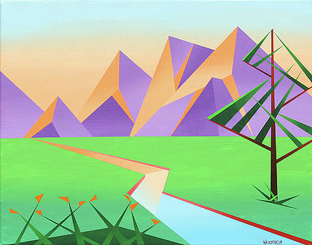 Abstract Mountain River at Sunset with Flowers Painting by Mark Webster