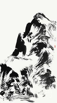 Abstract Mountan Painting In Zen Style by Nadja Van Ghelue