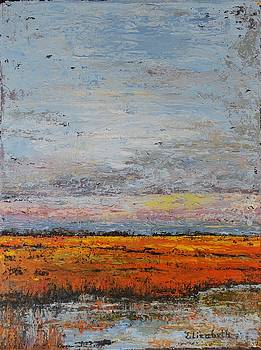 Abstract Orange Marsh by Beth Maddox