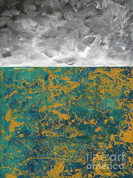 Abstract Original Painting Contemporary Metallic Gold and Teal with Gray MADART by Megan Duncanson