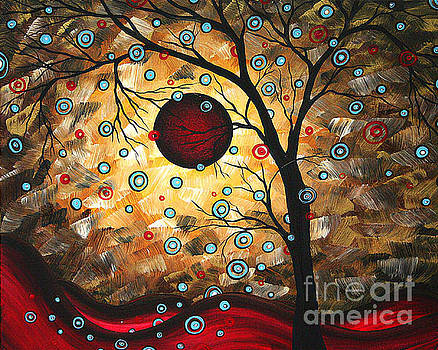 Abstract Red Moon Landscape Tree Art Terms of Endearment by Megan Duncanson by Megan Duncanson