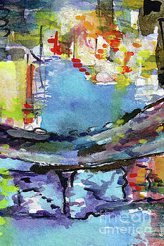 Ginette Callaway - Abstract Venice Reflections Watercolor