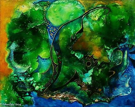 Abstract World-forest And River by Wolfgang Schweizer