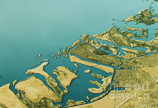 Abu Dhabi 3D Landscape View South-North Natural Color by Frank Ramspott