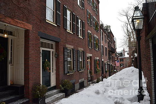 Acorn Street in the Snow by Leslie M Browning