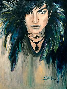 Adam Lambert with Feathers by Silja Erg