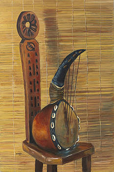 African Instrument on Stool by Leonard R Wilkinson