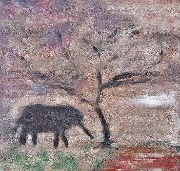 African Landscape baby elephant and banya tree at watering hole with mountain and sunset grasses shr by MendyZ