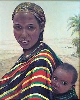 African Mother and child by Laila Awad Jamaleldin