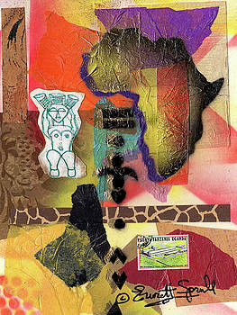 Afro Collage - G by Everett Spruill