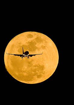 Airplane and moon by David Nunuk
