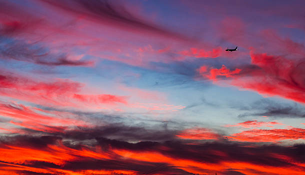 Airplane in the Sunset by April Reppucci