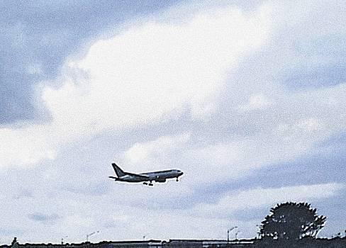 Airplane landing by Jacqueline Mason