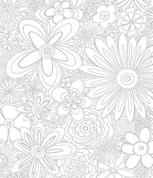 All Over Flower Floral Pattern Coloring Gray and White Ethereal Design by Megan Duncanson MADART by Megan Duncanson