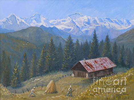 Alpine Beauty With Eiger Monch and Jungfrau by Elaine Jones