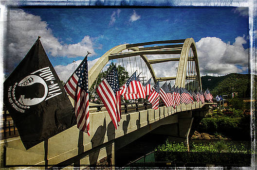 American Flags On Rogue River Bridge by Mick Anderson