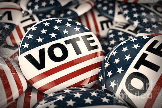 American vote button by Carsten Reisinger