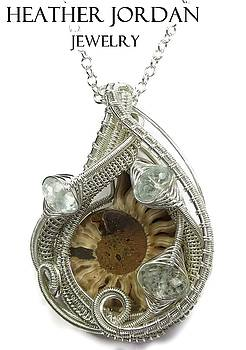 Ammonite Fossil Wire-Wrapped Pendant in Tarnish-Resistant Sterling Silver with Aquamarine - FAPSS8 by Heather Jordan