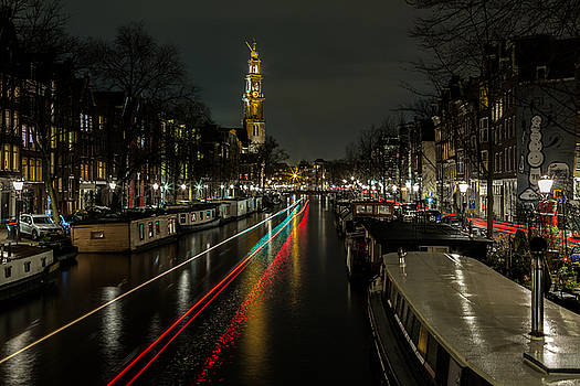 Amsterdam Canal with Boat and Bike Trails by John Daly