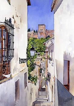 An Alley in the Albaicin Granada by Margaret Merry