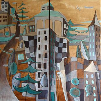 An Urban Landscape Diptych by Aliza Souleyeva-Alexander