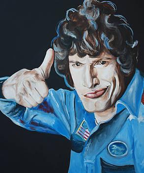 Andy Samberg Painting Hot Rod by Mikayla Ziegler