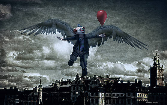 Angel Clown with Balloon by Ramon Martinez