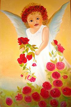 Xafira Mendonsa - Angel surrounded by red roses