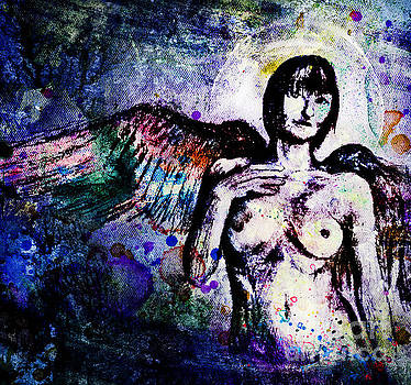 Angel with rainbow wings by Michael  Volpicelli