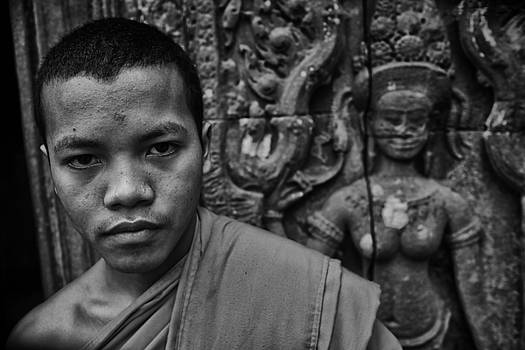 Angkor WatBuddhist Monk portrait by David Longstreath