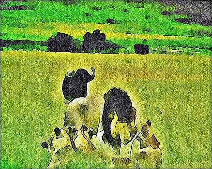 Animals interacting by Jacqueline Mason