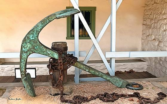 Antique Boat Anchor Custom House Plaza Monterey California Painting by Barbara Snyder