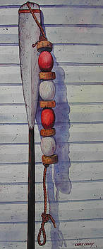 Antique oar and float by Chuck Creasy