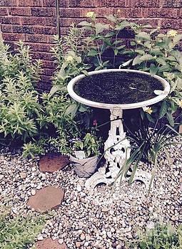 Antique shabby Chic Birdbath by Nancy Pace