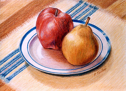 Phyllis Tarlow - Apple and Pear on Plate