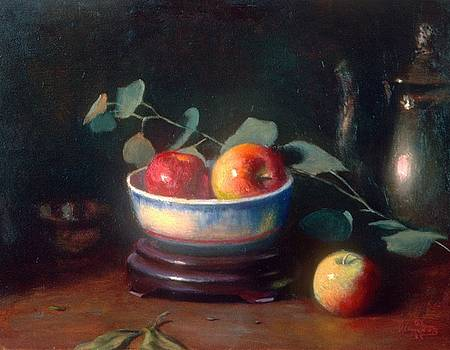 Apples   Silver Dollars   and  Silver Teapot by David Olander