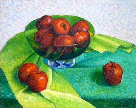 Apples in a Green Glass Bowl by Gainor Roberts