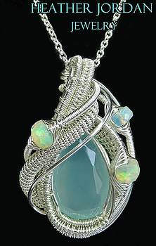 Aqua Chalcedony Wire-Wrapped Pendant in Sterling Silver with Ethiopian Welo Opals - QCHLCPSS3 by Heather Jordan