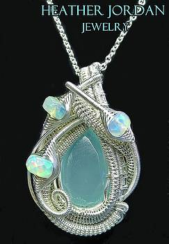 Aqua Chalcedony Wire-Wrapped Pendant in Sterling Silver with Ethiopian Welo Opals - QCHLCPSS5 by Heather Jordan