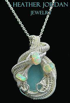 Aqua Chalcedony Wire-Wrapped Pendant in Tarnish-Resistant Sterling Silver with Ethiopian Welo Opals  by Heather Jordan